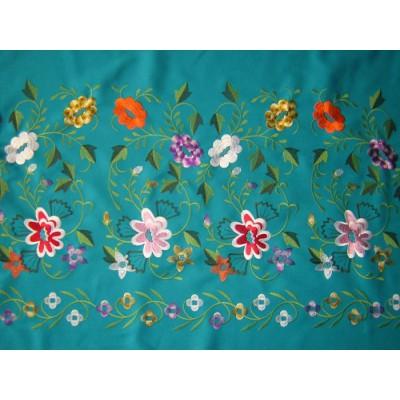 Tejido de falda bordado JARA (turquesa)