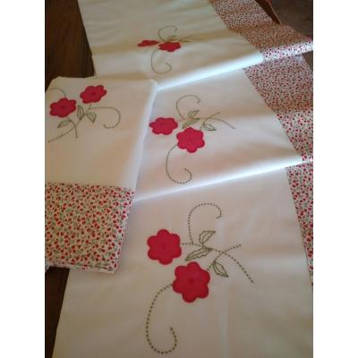 Juego de sábanas bordadas cama LAURA